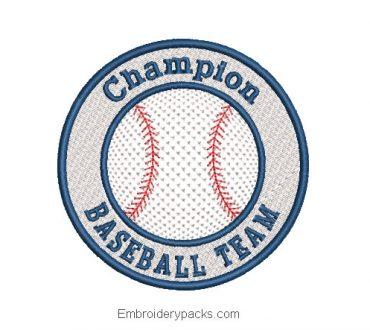 Baseball Team Embroidered Design