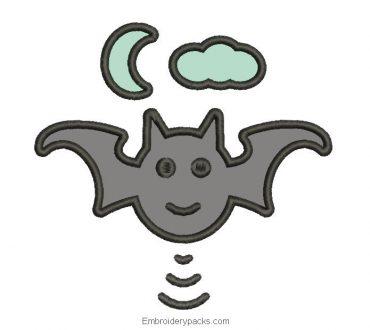 Bat Machine Embroidered Design