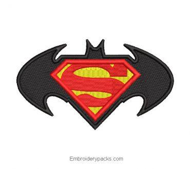 Batman and superman logo embroidery