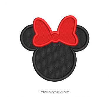 Black mickey mouse face embroidery