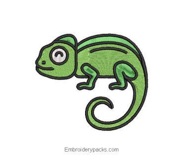 Chameleon machine embroidery design