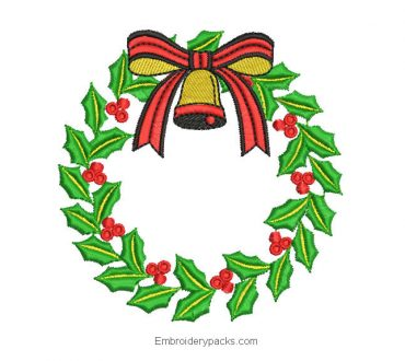 Christmas wreath embroidery design to embroider