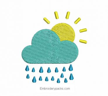 Cloud embroidery with raindrops