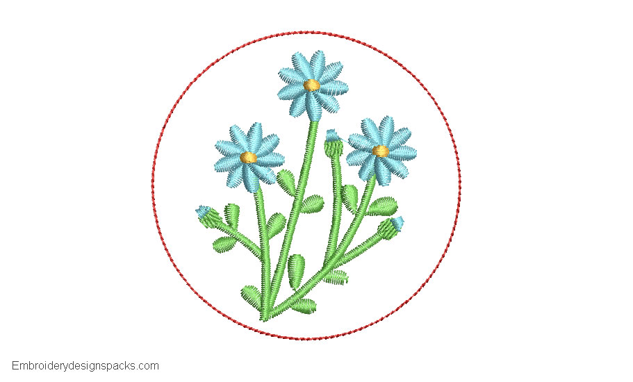 Design Embroidery of Plants with Flowers