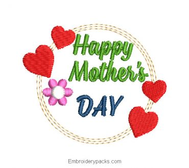 Embroidered Design Happy Mother's Day with Heart