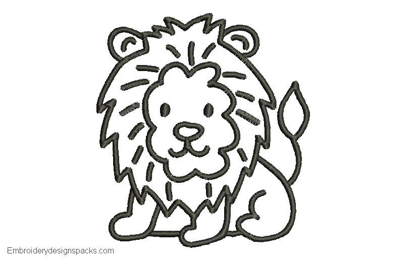 Embroidered Lion Design for Free Border