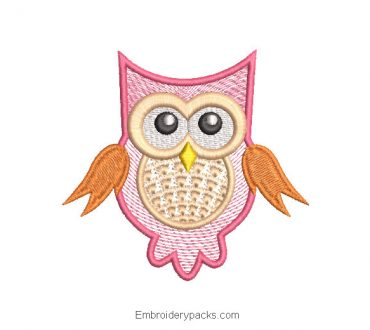 Embroidered Owl Design with Decoration