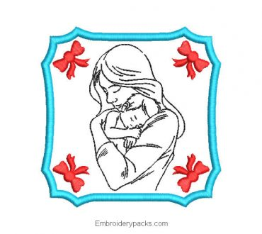 Embroidered Picture of Mom with Baby