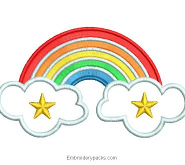 Embroidered Rainbow Design with Cloud