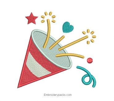 Embroidered birthday cone design for embroidery