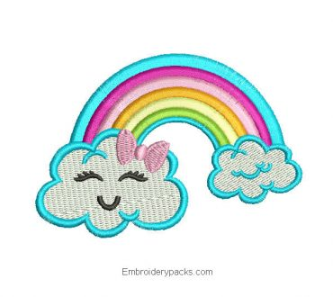 Embroidered child cloud design for embroidery