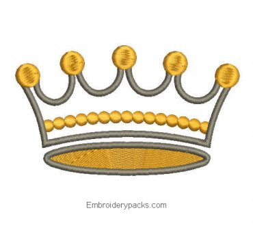 Embroidered crown design with decoration