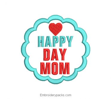 Embroidered design Happy Mother's Day lettering