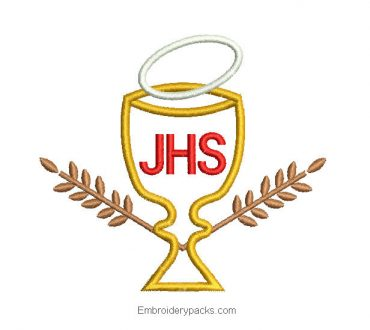 Embroidered design jhs cup with herringbone