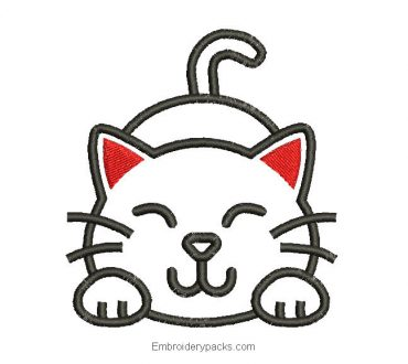 Embroidered design of children's cat to embroider