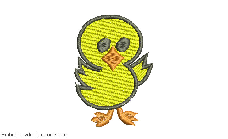 Embroidered design of children's duck for embroidery