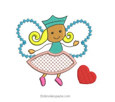 Embroidered design of girl with butterfly dress