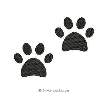 Embroidered design of footprints for machine