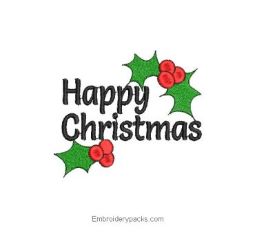 Embroidered merry christmas letter with holly