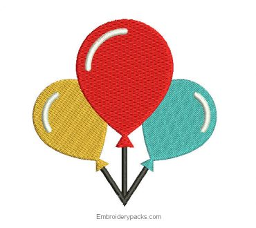 Embroidery colored balloons for birthday