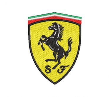 Ferrari logo embroidery design