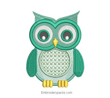 Green owl embroidery design for machine