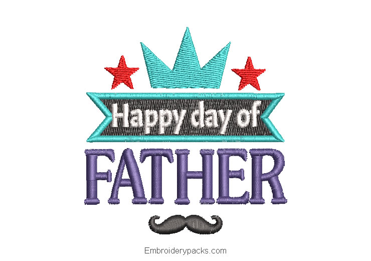 Happy Father's Day Letter Embroidery