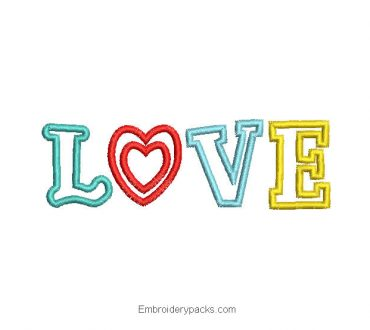 LOVE letter embroidery design to embroider