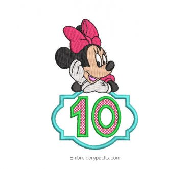 Minnie Number 10 Embroidered Design