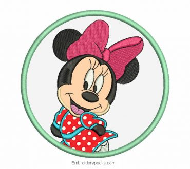 Minnie mouse design with embroidery application