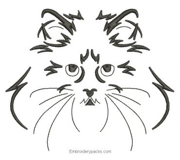 Persian cat face embroidery design