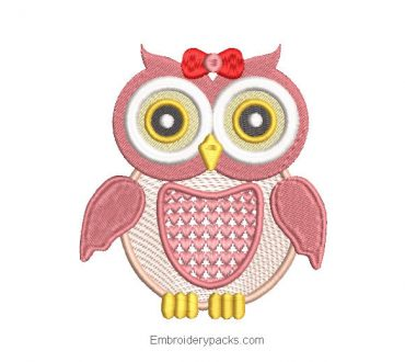 Pink Owl Embroidered Design