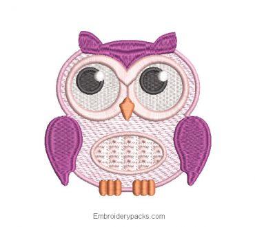 Purple Owl Machine Embroidery Design