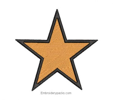 Star Embroidered Design with Black Border
