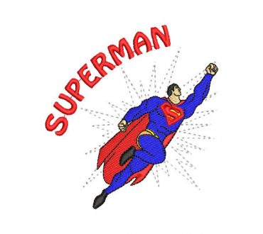 Superman flying machine embroidery design