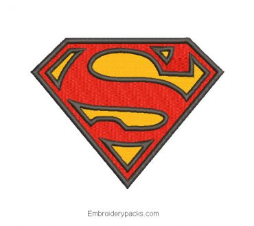 Superman logo embroidery design with application