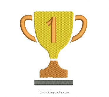 Trophy cup design for embroidery