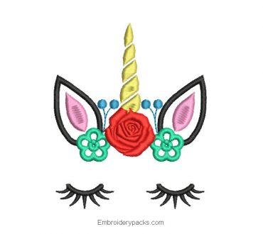 Unicorn face with rose embroidery design