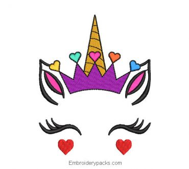 Unicorn queen embroidery with hearts