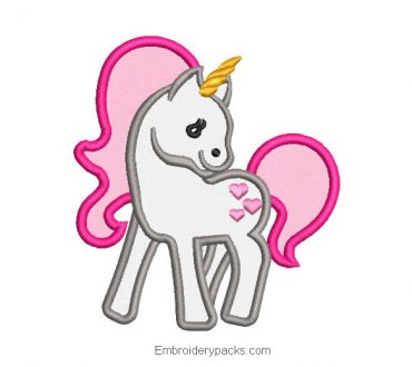 Unicorn with wings embroidery design with app