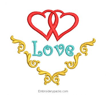 2 hearts embroidery design for wedding
