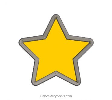 5 point star embroidery design with application