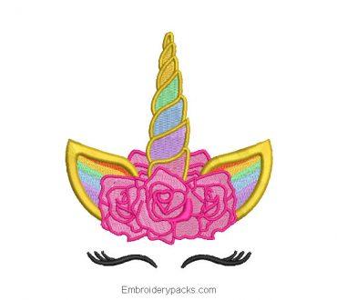 Adorable unicorn face embroidery
