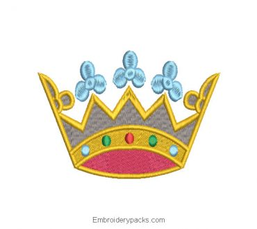 Ancient Queen Crown Embroidered Design