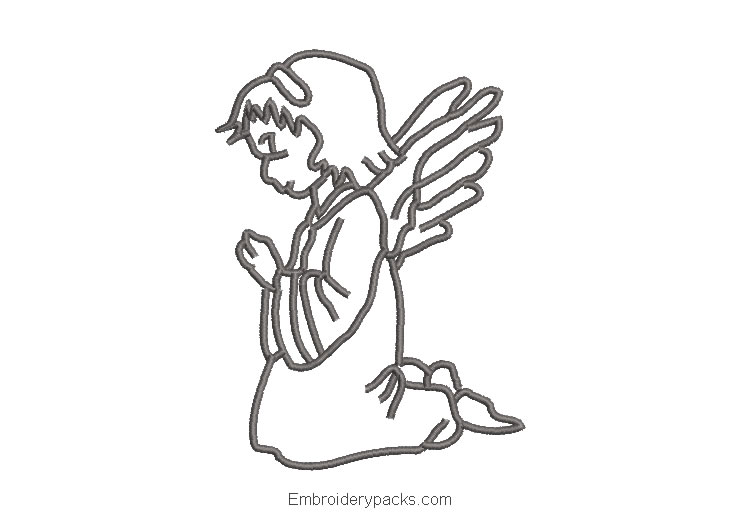 Angel Praying Silhouette Embroidery Design