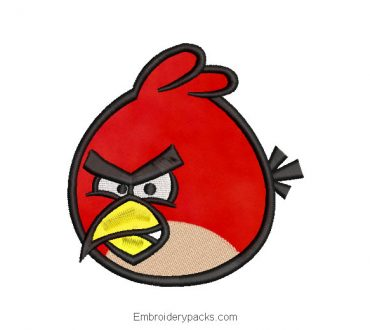 Angry birds Red Embroidered Design with Application