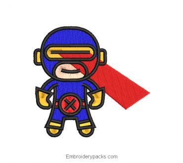 Animated Superhero Embroidery Design