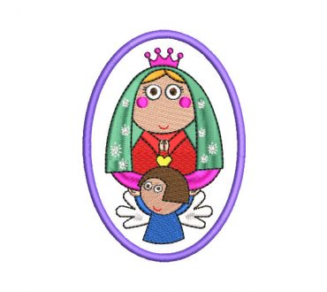 Animated Virgin of Guadalupe Embroidery Design