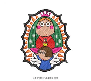 Animated virgin of guadalupe embroidered design