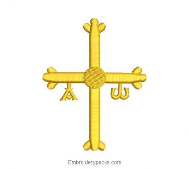 Asturian cross embroidery design